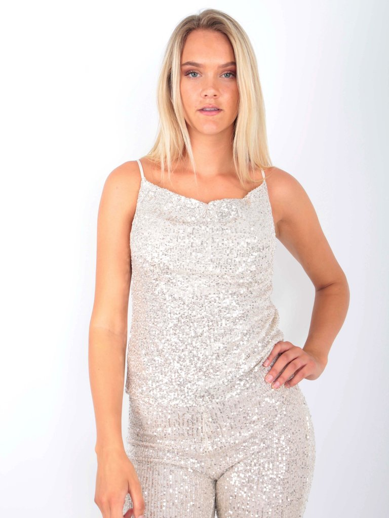 VERA & LUCY - LADYLIKE FASHION Sequins Top Beige