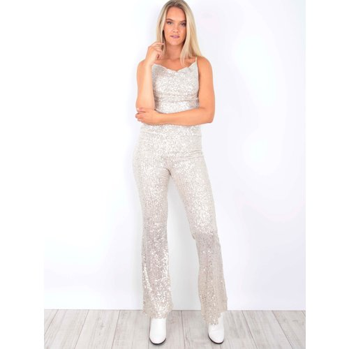 VERA & LUCY Sequins Trousers Beige