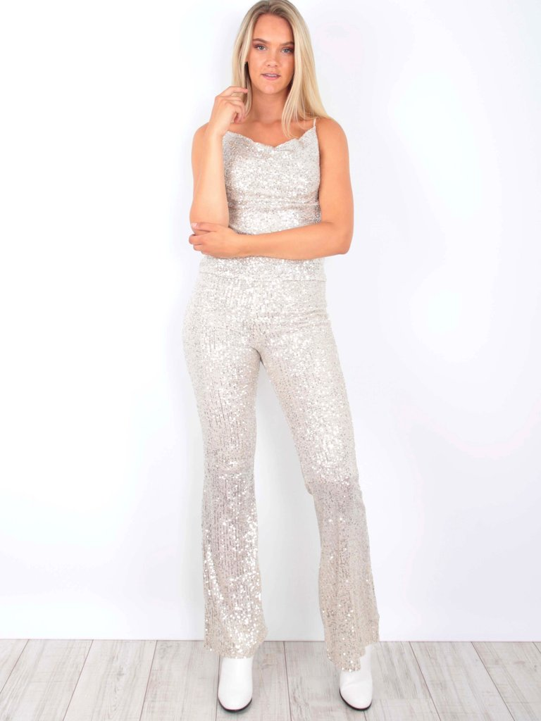 VERA & LUCY - LADYLIKE FASHION Sequins Trousers Beige