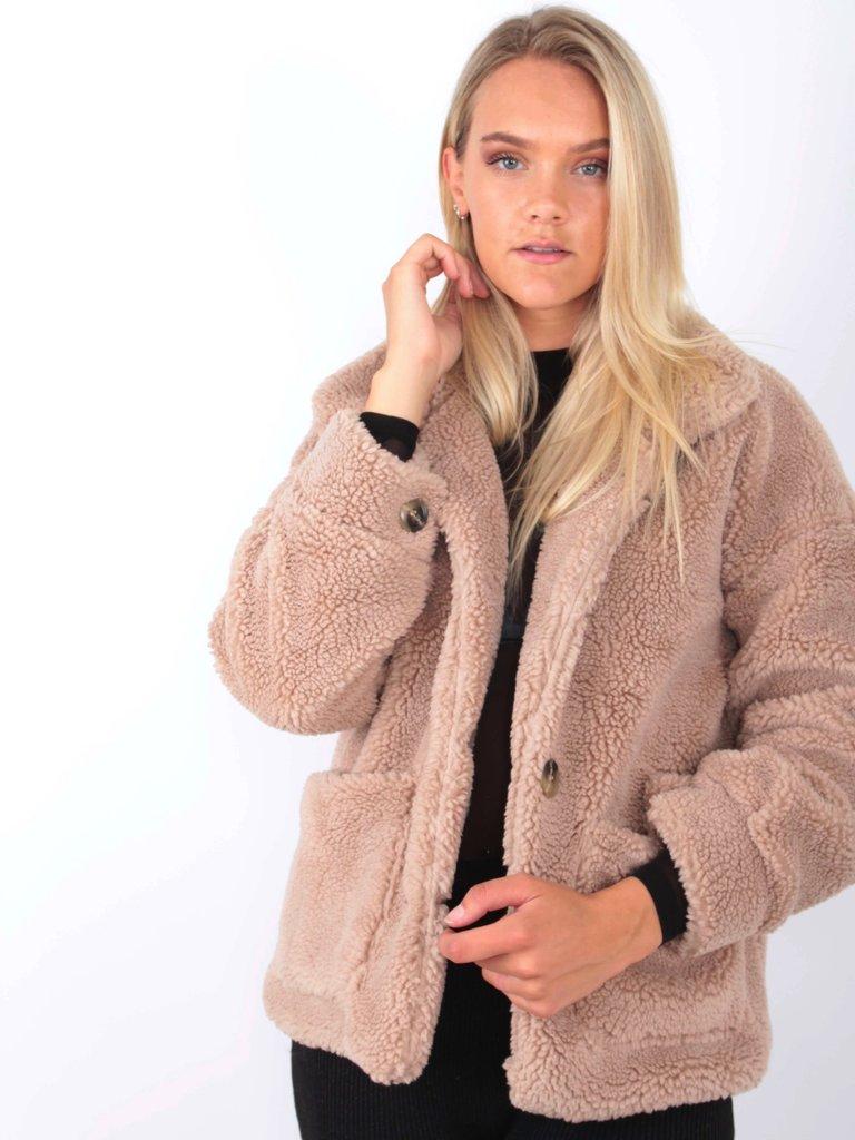 Short Teddy Coat Stone