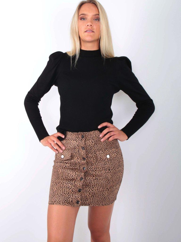DRŌLE DE  COPINE Cheetah Skirt Camel