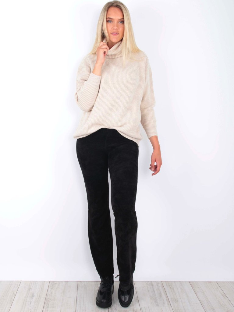 EIGHT PARIS Flared Pants Velvet Black