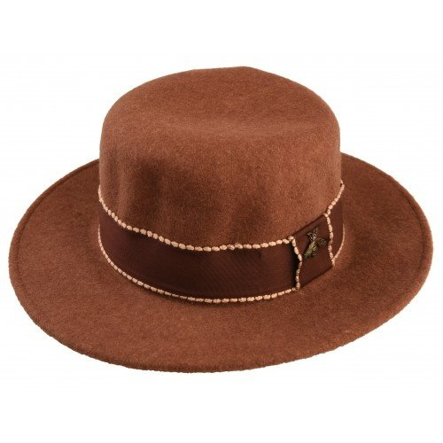 LADYLIKE FASHION Hat Ribbon wolL/po 57cm Brown