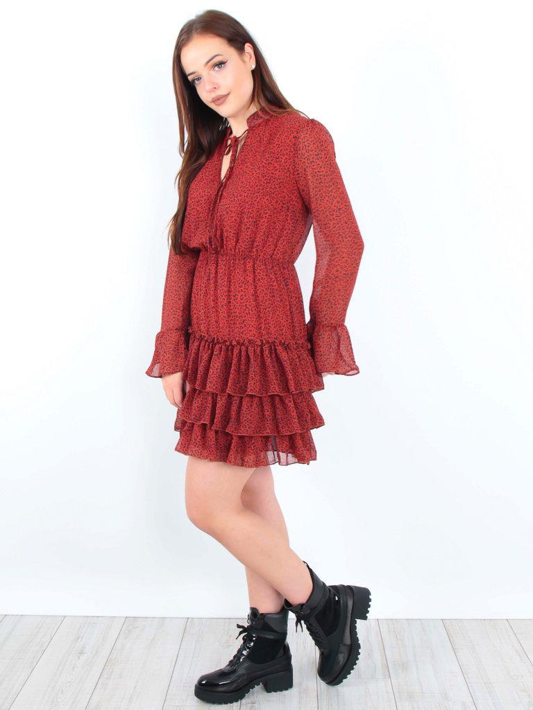 IVIVI - LADYLIKE FASHION Small Leopard Print Ruffle Dress Rust