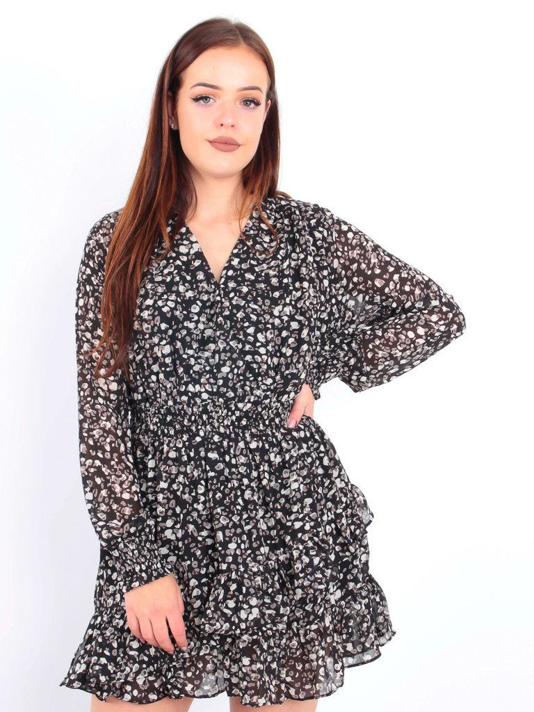 IVIVI Ruffle Dress Leopard Print Black