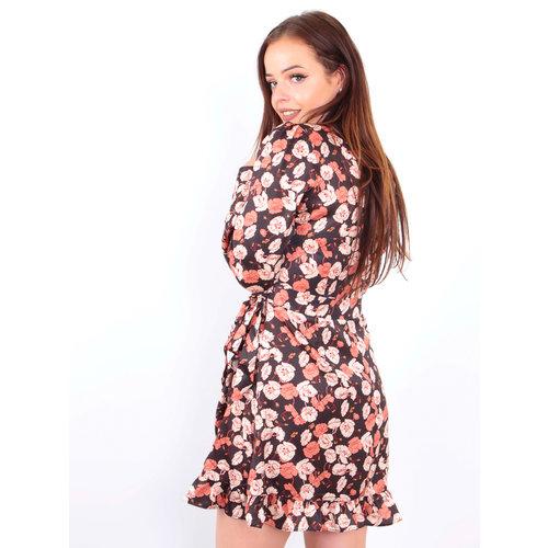 IVIVI Satin Floral Print Ruffle Dress Ecru
