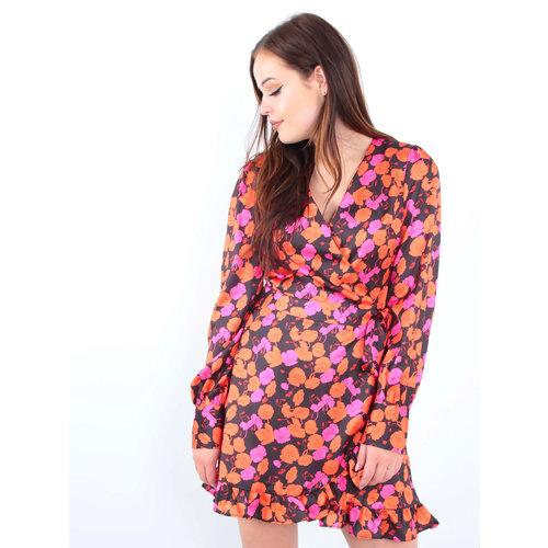 IVIVI Satin Floral Print Ruffle Dress Black