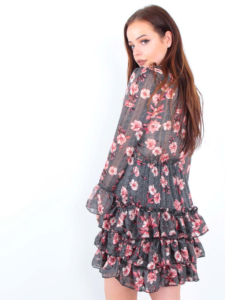 IVIVI Floral Dot Print Dress Black