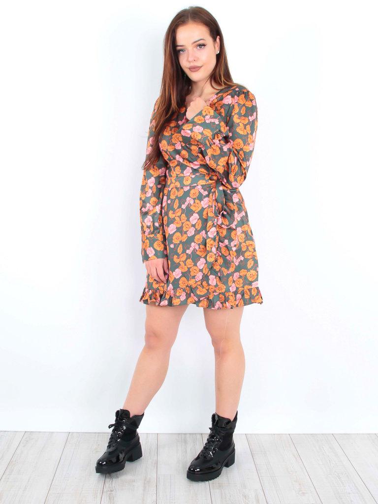 IVIVI Satin Floral Print Ruffle Dress Green