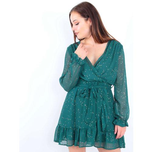 Long Sleeve Sheer Dress Green/Gold Dots