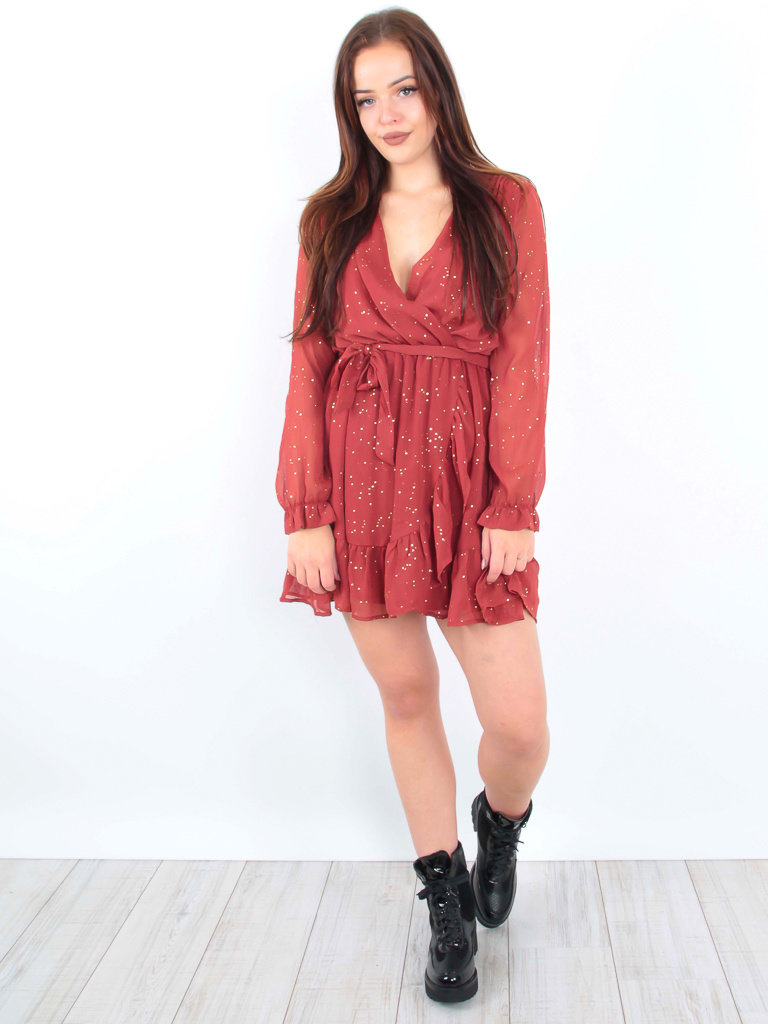 Long Sleeve Sheer Dress Red/Gold Dots