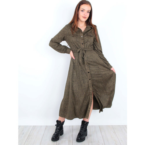 DRŌLE DE  COPINE Maxi Dress Cheetah Green