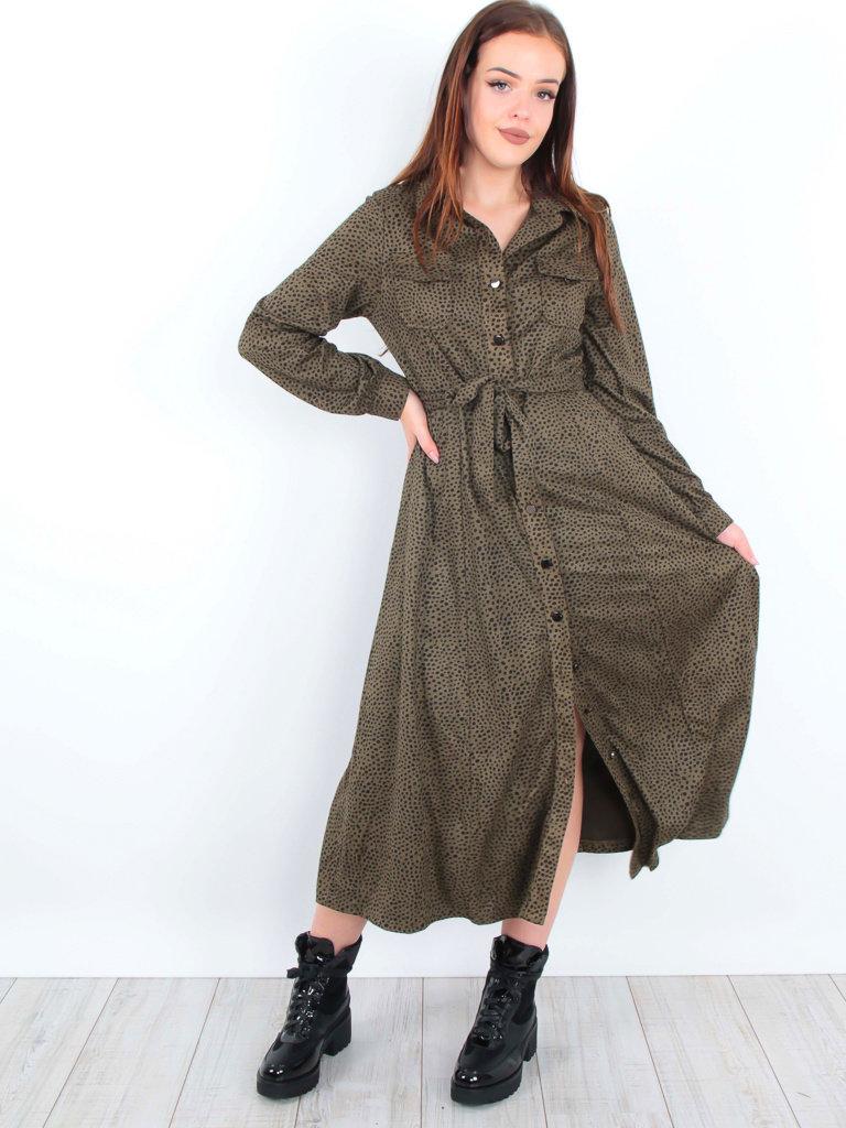 DRŌLE DE  COPINE-  LADYLIKE FASHION Maxi Dress Cheetah Green