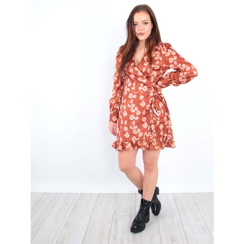 IVIVI Satin Floral Print Ruffle Dress Rust