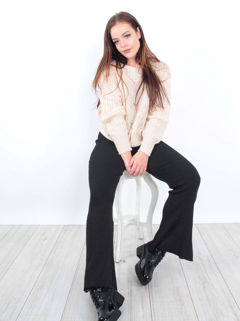 BY CLARA - LADYLIKE FASHION Flared Trousers Shimmer Black