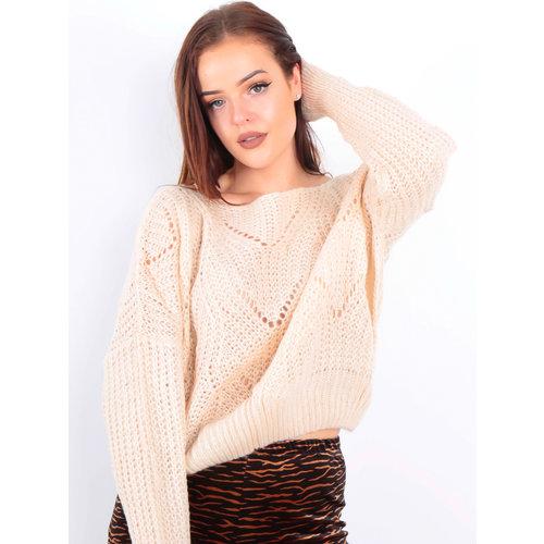 VINTAGE DRESSING -LADYLIKE FASHION Knit Crop Jumper Beige