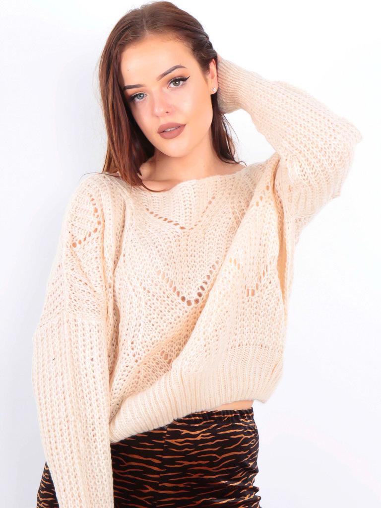VINTAGE DRESSING Knit Crop Jumper Beige