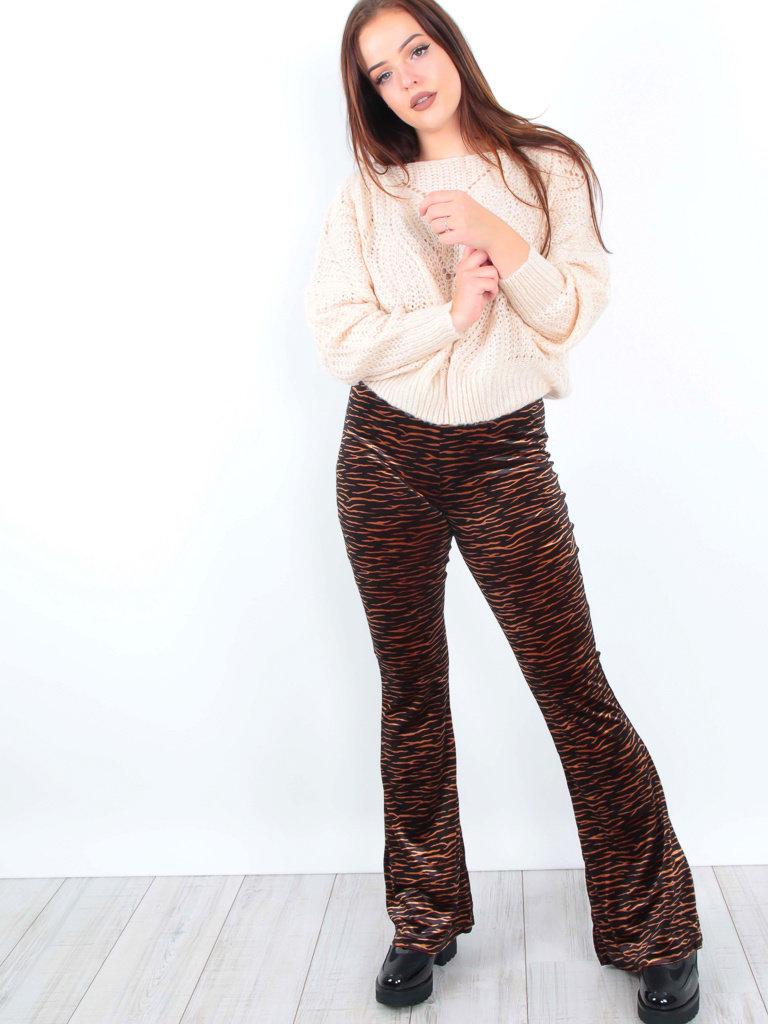IVIVI Velvet Zebra Print Flared Trousers Brown