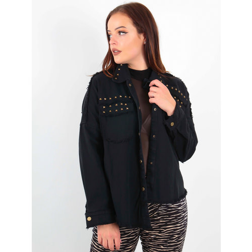 CIMINY Studded Denim Jacket Black
