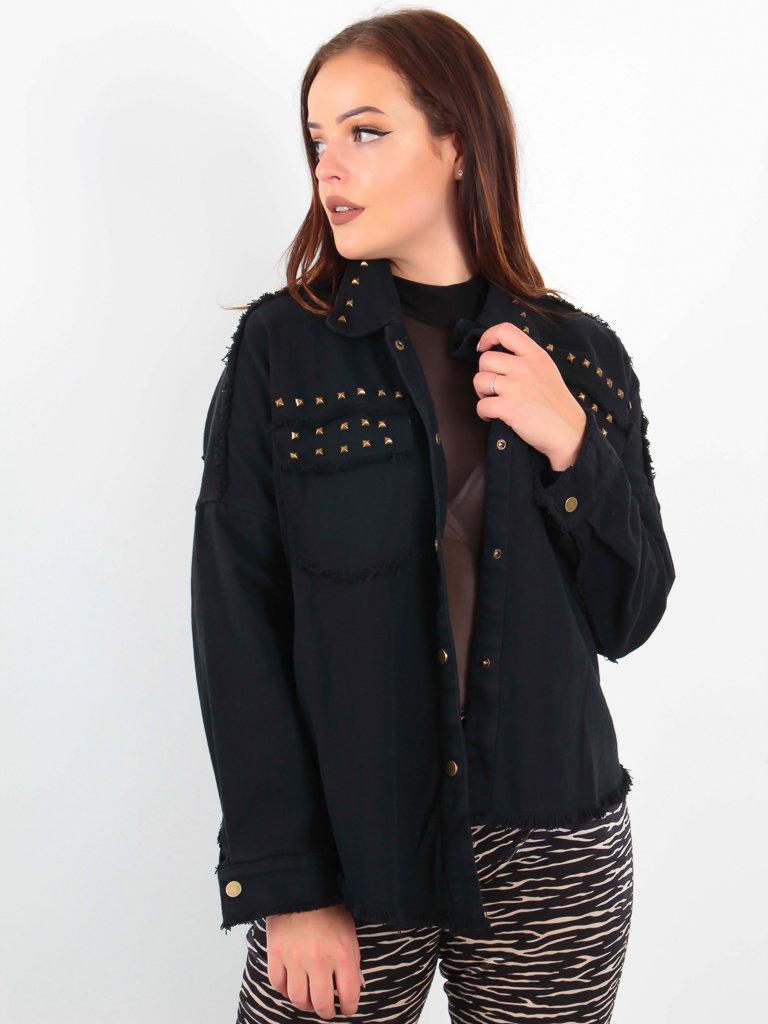 CIMINY - LADYLIKE FASHION Studded Denim Jacket Black