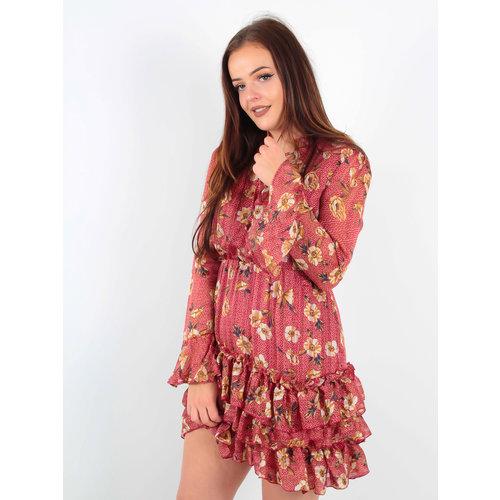 IVIVI Floral Dot Print Dress Red