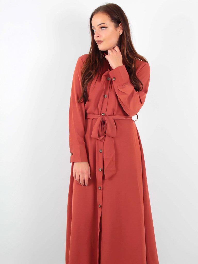 DOLSSACI - LADYLIKE FASHION Maxi Dress Buttons Red