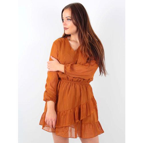 VINTAGE DRESSING Ruffle Dress Gold detail/Camel