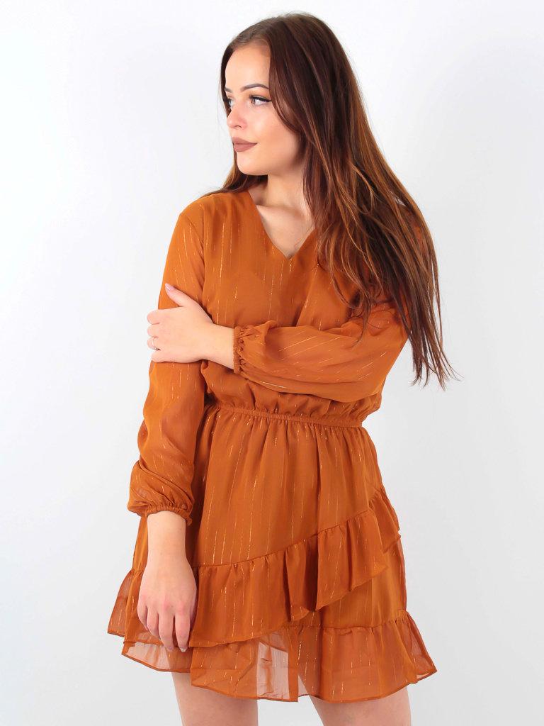 VINTAGE DRESSING -LADYLIKE FASHION Ruffle Dress Gold detail/Camel