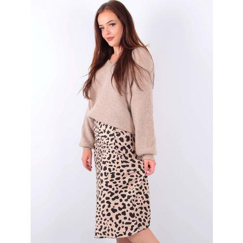 LADYLIKE FASHION Satin Leopard Skirt Beige