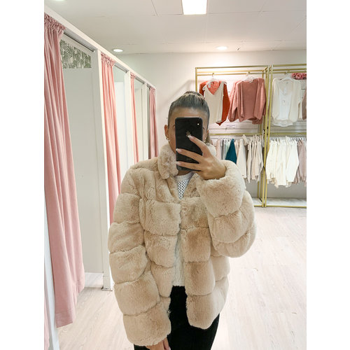 Faux Fur Jacket Beige