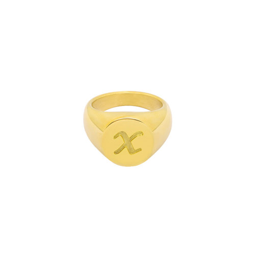 LADYLIKE FASHION Ring Initial X Signet Ring Gold