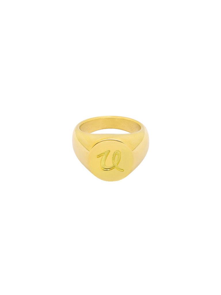 LADYLIKE FASHION Ring Initial U Signet Ring Gold