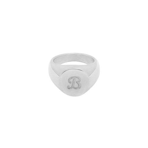 LADYLIKE FASHION Ring Initial B Signet Ring Silver