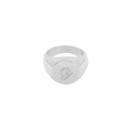 LADYLIKE FASHION Ring Initial Q Signet Ring Silver