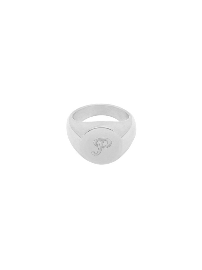 LADYLIKE FASHION Ring Initial P Signet Ring Silver