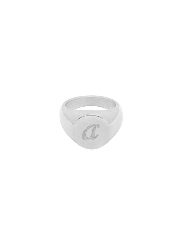 LADYLIKE FASHION Ring Initial A Signet Ring Silver