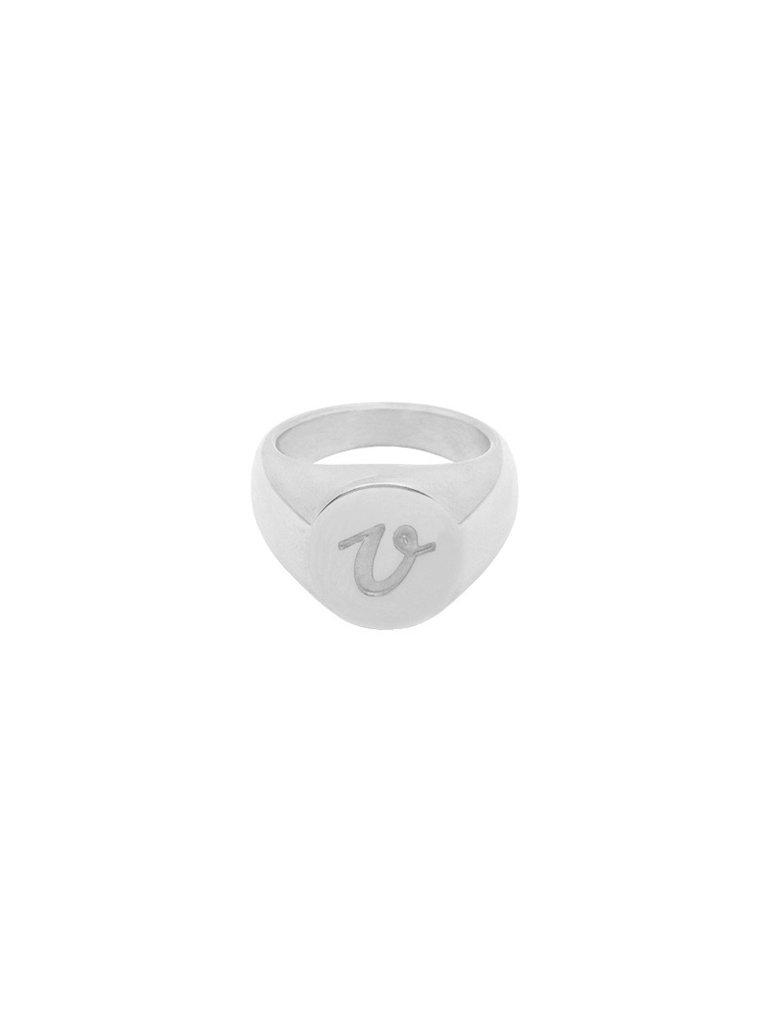 LADYLIKE FASHION Ring Initial V Signet Ring Silver