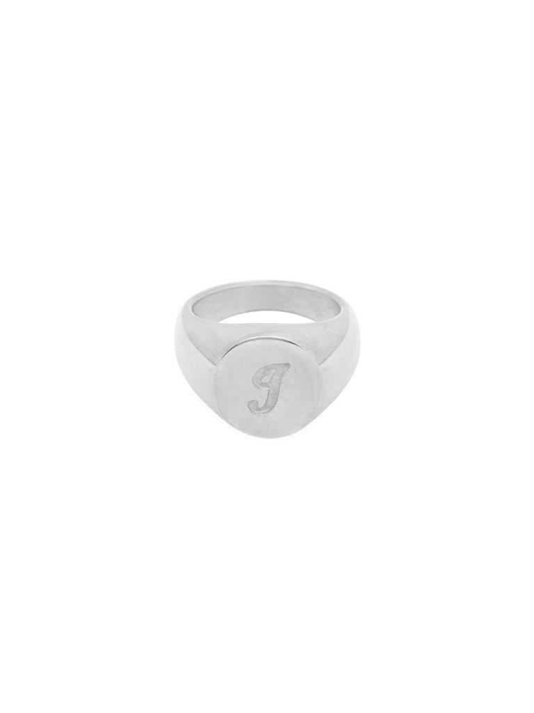LADYLIKE FASHION Ring Initial I Signet Ring Silver