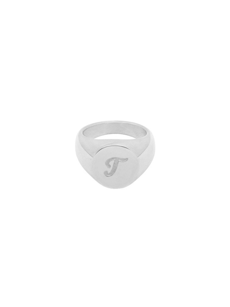 LADYLIKE FASHION Ring Initial T Signet Ring Silver