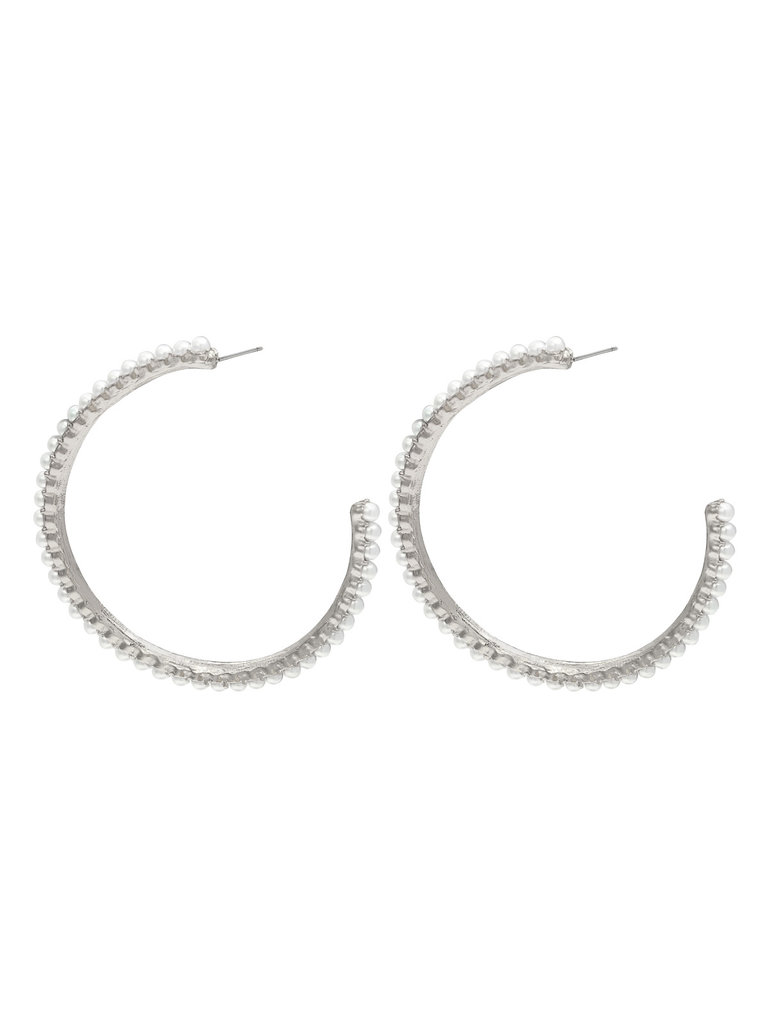 LADYLIKE FASHION Earrings pearl hoops Silver