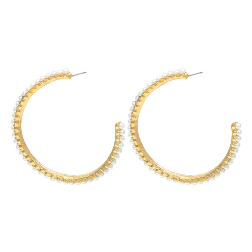LADYLIKE FASHION Earrings pearl hoops Gold