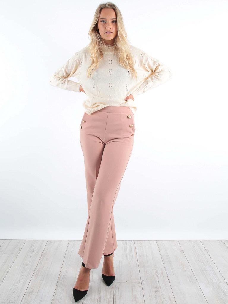 LULUMARY - LADYLIKE FASHION Straight Leg Trousers Soft Pink