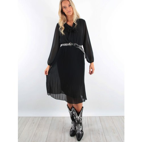 Latino Maxi Dress Pleated Black