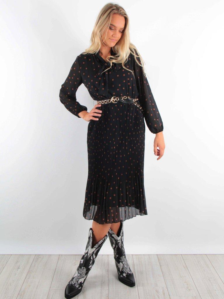 Latino Maxi Dress Pleated Dark Blue Dots