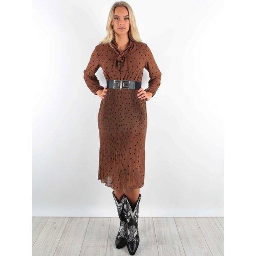 Latino Maxi Dress Pleated Camel Dots