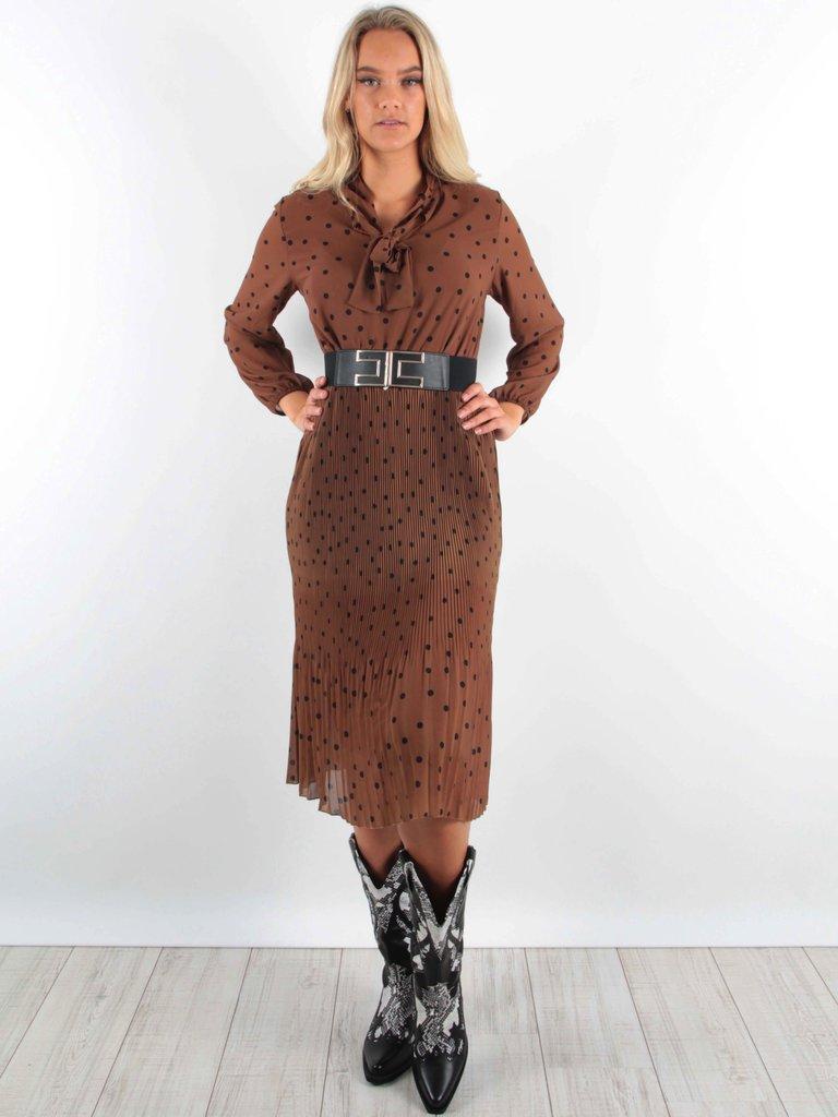LATINO-  LADYLIKE FASHION Maxi Dress Pleated Camel Dots