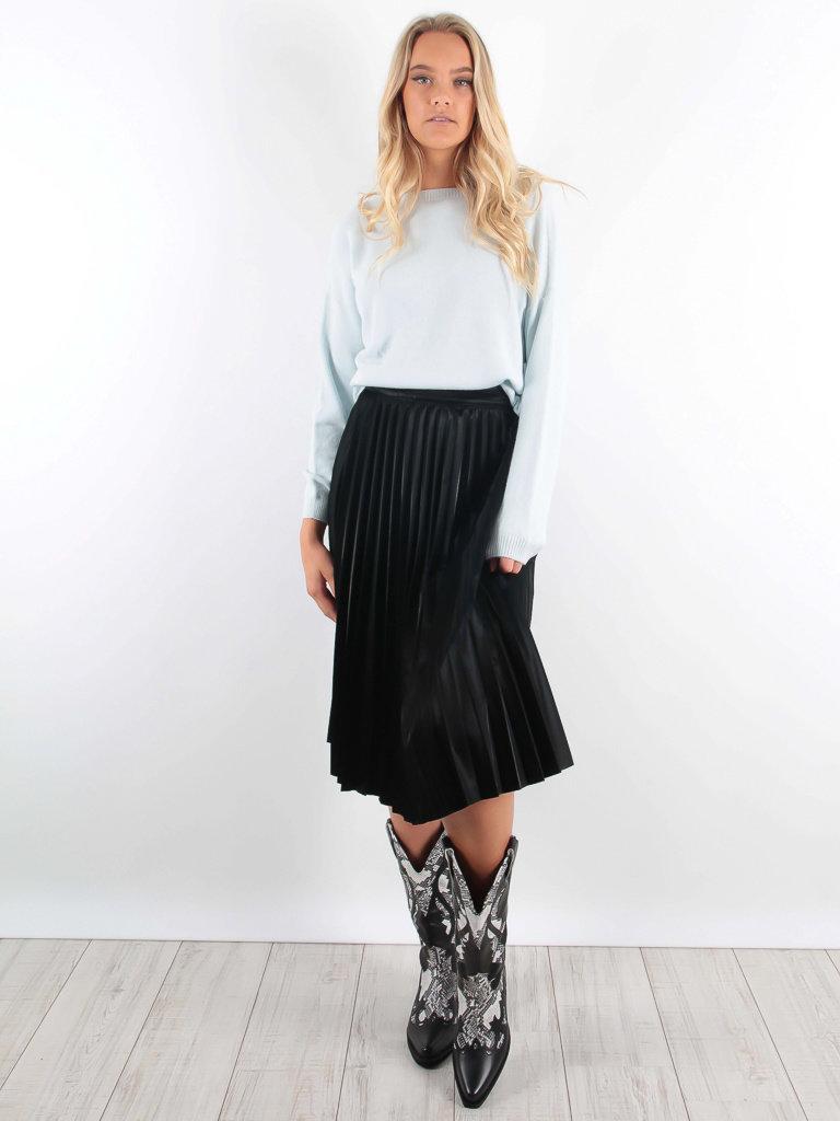 Maraislise Leather Look Pleated Midi Skirt