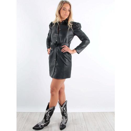 IVIVI Leather Look Dress Black