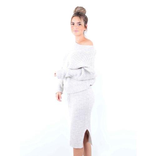 LADYLIKE FASHION Knitted Skirt Beige