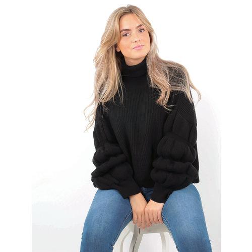 DRŌLE DE  COPINE-  LADYLIKE FASHION Jumper Bubble Sleeve Black
